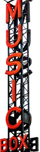 photo of metal framework sign for Music Box Theatre chicago illinois