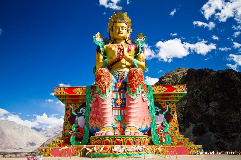 32 metre statue of Maitreya Buddha near Diskit Monastery facing down the Shyok River, Leh, Ladakh. Photo by Pranav Bhasin on Flickr (CC License)