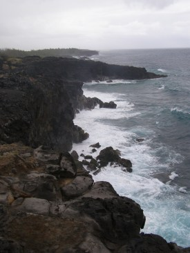 The roughness of the coastline jars against the image of Mauritius