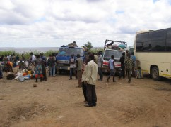 Lorries and buses ready to leave