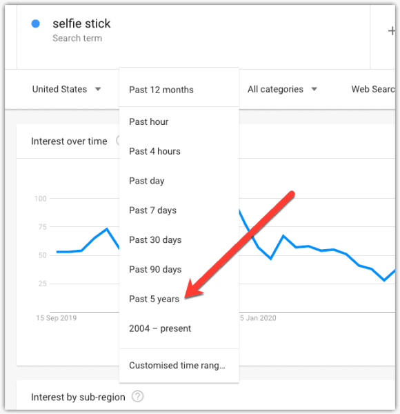 google trends instruction to change date