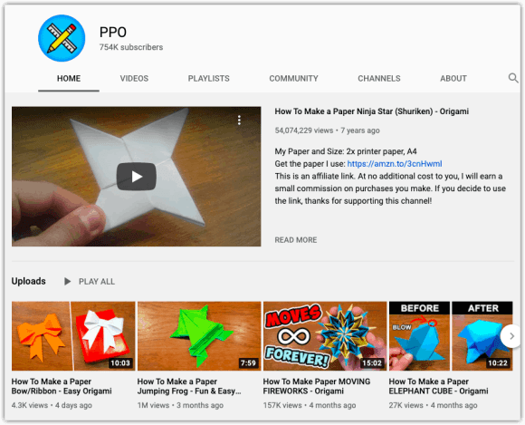 PPO Origami YouTube channel