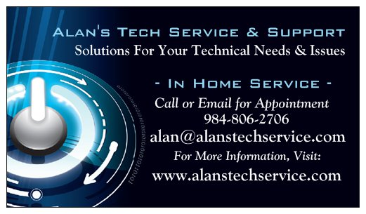 Alans business card