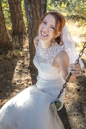 Pepper Kester takes the wedding gown on the swing