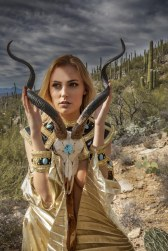 This close-up shows the skull with K. in the desert scene.
