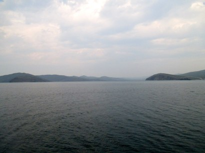 Channel between Olkhon Island and the mainland, from the ferry