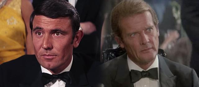 George Lazenby à 29 ans dans Au service secret de sa Majesté (1969) à gauche, et Roger Moore à 57 ans dans Dangereusement Vôtre (1985) à droite
