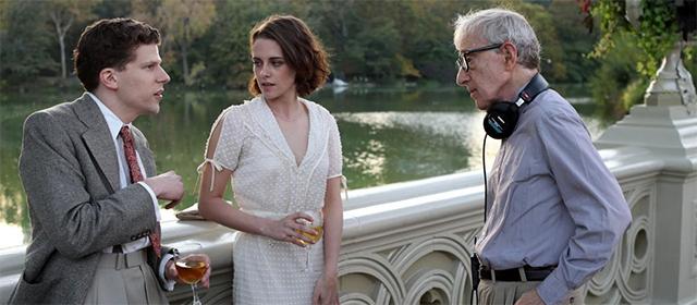 Jesse Eisenberg, Kristen Stewart et Woody Allen sur le tournage de Café Society