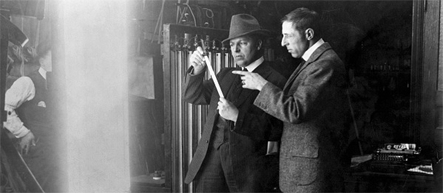 Billy Bitzer et D.W. Griffith en 1913