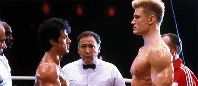 Sylvester Stallone et Dolph Lundgren dans Rocky IV (1985)