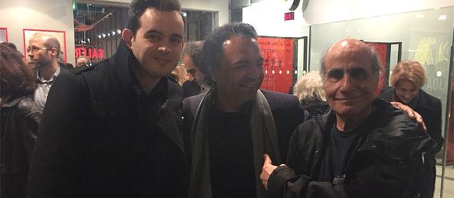 Avec Madjid Niroumand (acteur principal, au milieu) et Amir Naderi (réalisateur, à droite) après la séance