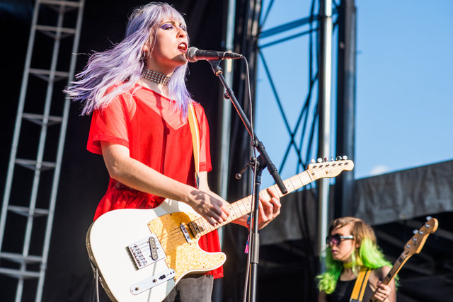 Potty Mouth vocalist Abby Weems performing at Riot Fest Saturday.