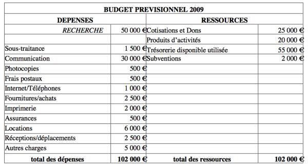 Budget prévisionnel 2009 aide à la recherche moelle épinière