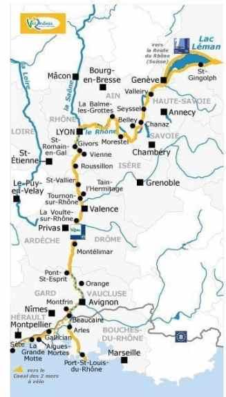 Cet itinéraire cyclable de 815 km, toujours en cours de réalisation, conduit le touriste à vélo des panoramas alpins aux plages de Camargue, en traversant les paysages emblématiques des vignobles des Côtes du Rhône et ceux de la Provence méridionale