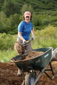 Kodiak archaeologist Molly O'Dell working at the Amak site, 2012.