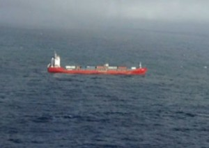 """Disabled Russian cargo ship """"Simushir was towed away from the coast and is now safely moored in port. Image-Maritime Pacific Forces."""