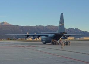 Soldiers with the 173rd Airborne Brigade Combat Team load onto a C-130 aircraft from the 144th Airlift Squadron, Alaska Air National Guard, during an airborne operation at Aviano Air Base, Italy, in Oct., 2014. (Courtesy photo by Jennifer Haney)