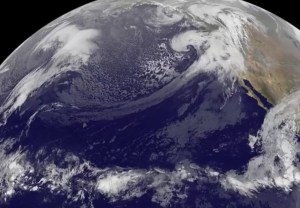 """Violent rain storms pouring moisture on the """"Pineapple Express"""" jet stream into California in mid-December.Image Credit: NASA/NOAA GOES Project, Dennis Chesters"""