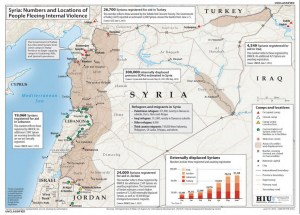Map showing numbers and location of Syrians fleeing their country. Image-Department of State