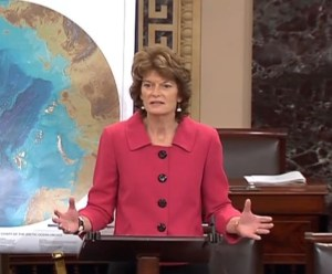 Senator Murkowski, chairperson of the Senate Energy and Natural Resources Committee addressing the Senate on Arctic issues in March.