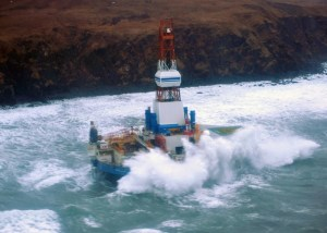 Shell drilling vessel Kuliak aground on Sitkalidek Island on the east side of the Kodiak archipeligo. Image-USCG