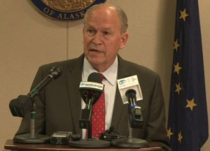 Governor Walker speaking on cost-saving measures on Wednesday. Image-State of Alaska