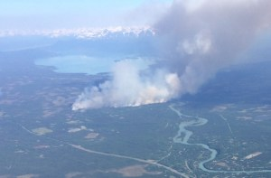 The Card Street Fire photographed from the air as it reached 640 acres in size. Image-Alaska Wildland Fire Information