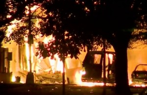 Flames burning in the midwestern city of Milwaukee. Screengrab of video