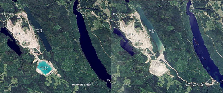 Aerial view of before and after of August 4, 2014 Mount Polley retention dam breach that dumped mining waste into the Cariboo River system in British Columbia. Imagery-NASA