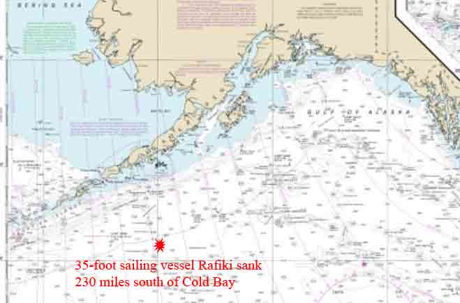 Coast Guard Rescue Two from Sinking Sailboat 230 Miles South of Cold Bay