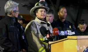 Fire Official Melinda Drayton speaking to the press about deadly fire. Image-VOA
