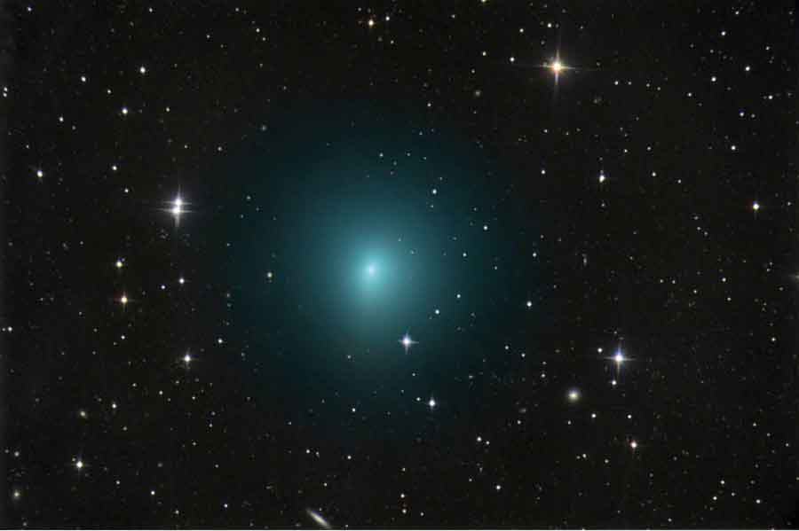 In this image taken March 24, 2017, comet 41P/Tuttle-Giacobini-Kresák is shown moving through a field of faint galaxies in the bowl of the Big Dipper. Image-Chris Schur