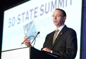 Deputy Attorney General Rod Rosenstein speaking at the 50-state Public Safety Summit. Image-CSG Justice Center/Twitter