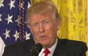 Trump speaking in Thursday's press conference. Image-VOA video screengrab