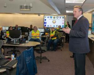 Governor Dunleavy visits Emergency Operations Center staff on Monday. Image-State of Alaska