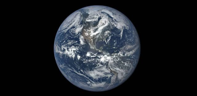 This image, taken in 2015, shows Earth as seen by NASA's Earth Polychromatic Imaging Camera (EPIC), aboard NOAA's Deep Space Climate Observatory (DSCOVR) spacecraft. Credit-NASA