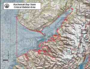 Map showing the Kachemak Bay Critical Habitat area. Image-ADF&G