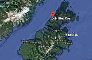 Location of Malina Bay on Afognak Island. Image-Google Maps