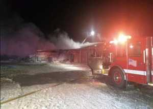 Fire Departments at the Triumvirate Theater blaze early Saturday morning. Image-Triumvirate Theater/Facebook