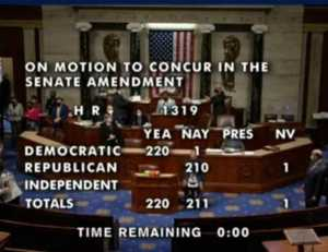 Final tally of U.S. House vote on Covid relief bill. Image-CSPAN video screengrab