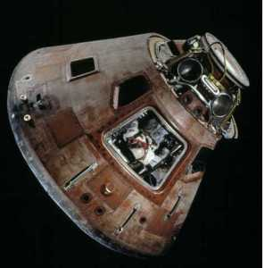 The Apollo 11 command module Columbia on display at the Smithsonian National Air and Space Museum in Washington. (Courtesy Eric Long/Smithsonian National Air and Space Museum)