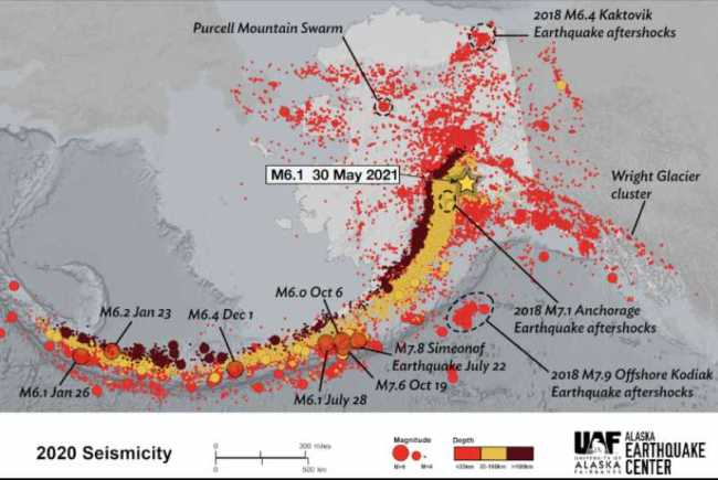 An Alaska Earthquake center map of all the earthquakes that happened in 2020, including the epicenter of a magnitude 6.1 earthquake that happened on May 30th, 2021.