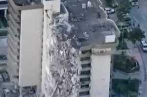 Aerial view of Champlain Towers site. Image-NBC News video screenshot.