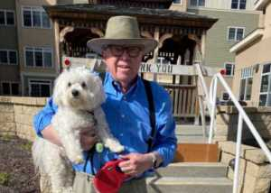 Neal Brown in 2021, on an outting in New Hampshire with his dog Molly. Photo courtesy of Becky Lees.