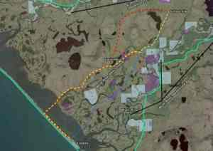 Sat image with overlay showing proposed road to new Kivalina school. Image-DOT&PF