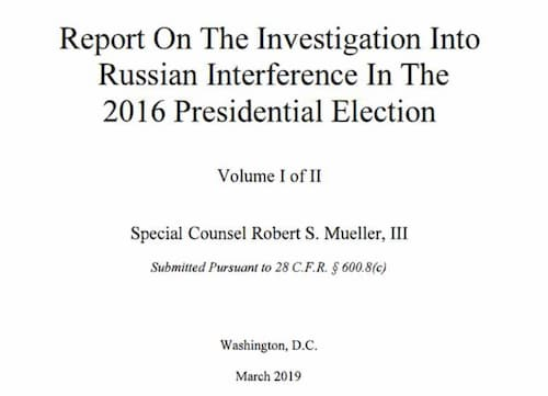 Mueller Report Confirms Intelligence Findings About Russian Meddling
