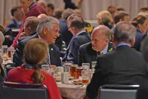 Secretary of State Tillerson talking to Alaskan Governor Bill Walker at the Arctic Ministerial Meeting in Fairbanks. Image-State of Alaska