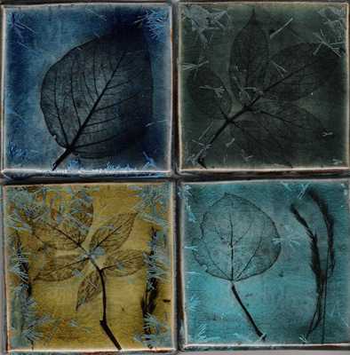 "Four separate 4"" leaf impressions with crystalline glaze"