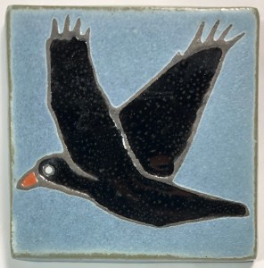"4"" Flying Raven Art Tile"