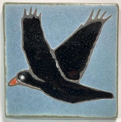 """4"""" Flying Raven Art Tile"""